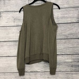 Alternative Sweaters - Alternative Cold Shoulder Olive Green Sweatshirt